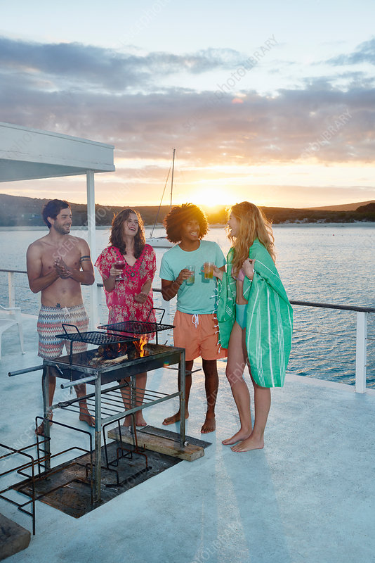 Friends barbecuing on summer houseboat