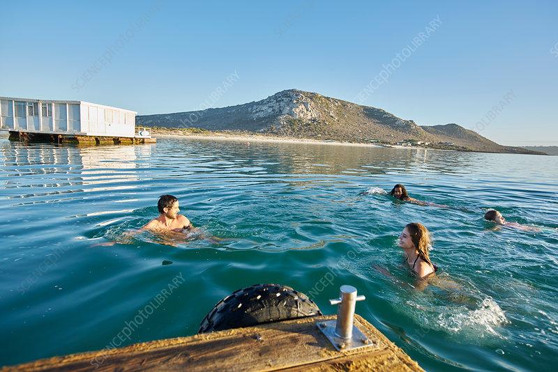 Friends swimming in sunny summer ocean