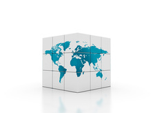 White cube with world map