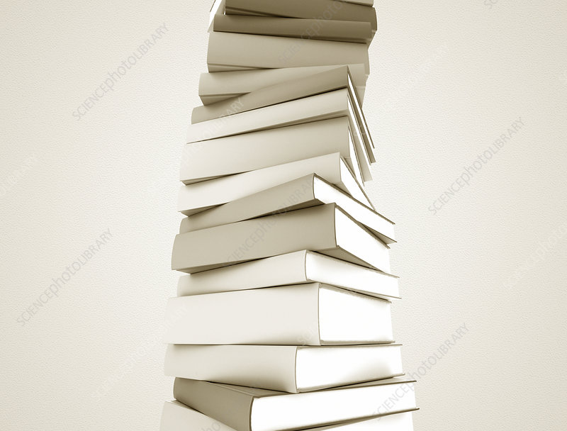 White books in a stack