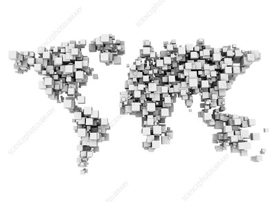 World map made from white cubes