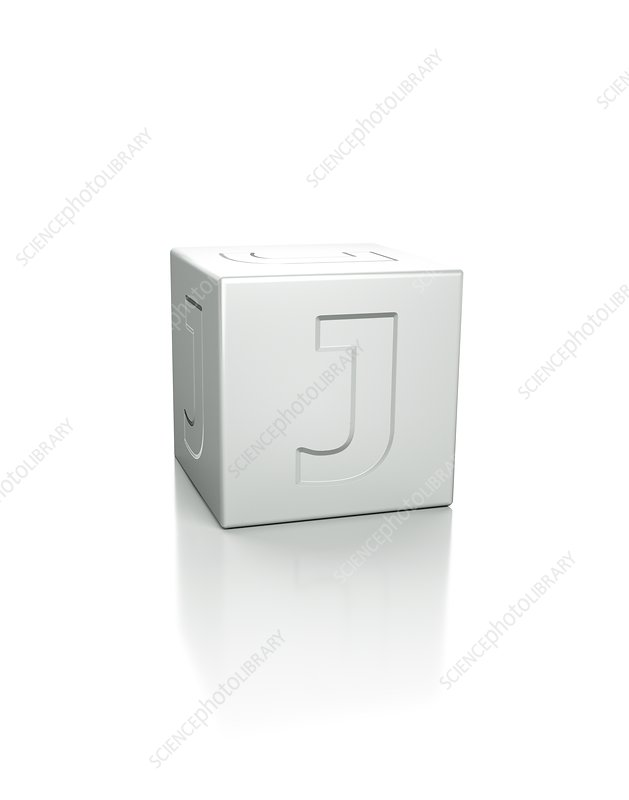 Cube with the letter J embossed