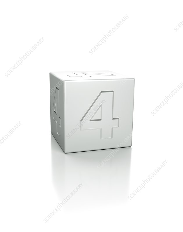 Cube with the number 4 embossed
