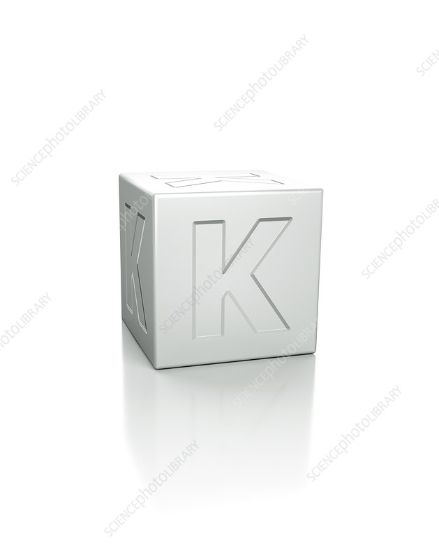 Cube with the letter K embossed