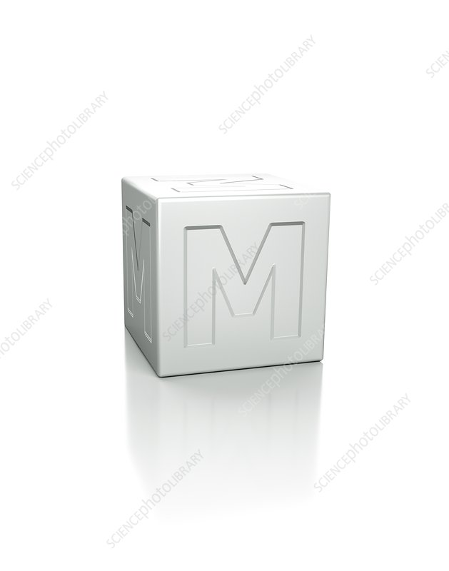 Cube with the letter M embossed