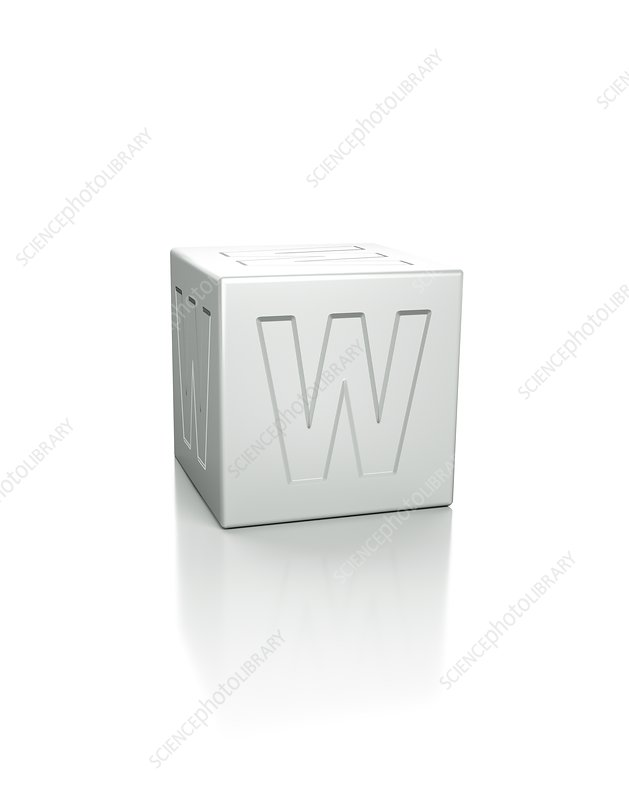 Cube with the letter W embossed