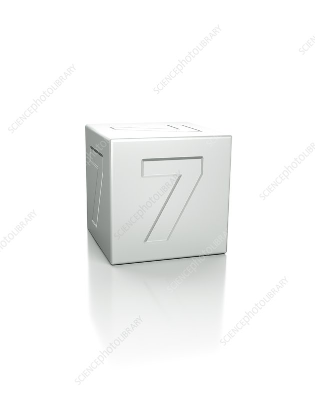 Cube with the number 7 embossed