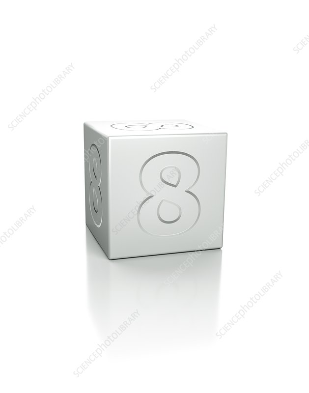 Cube with the number 8 embossed