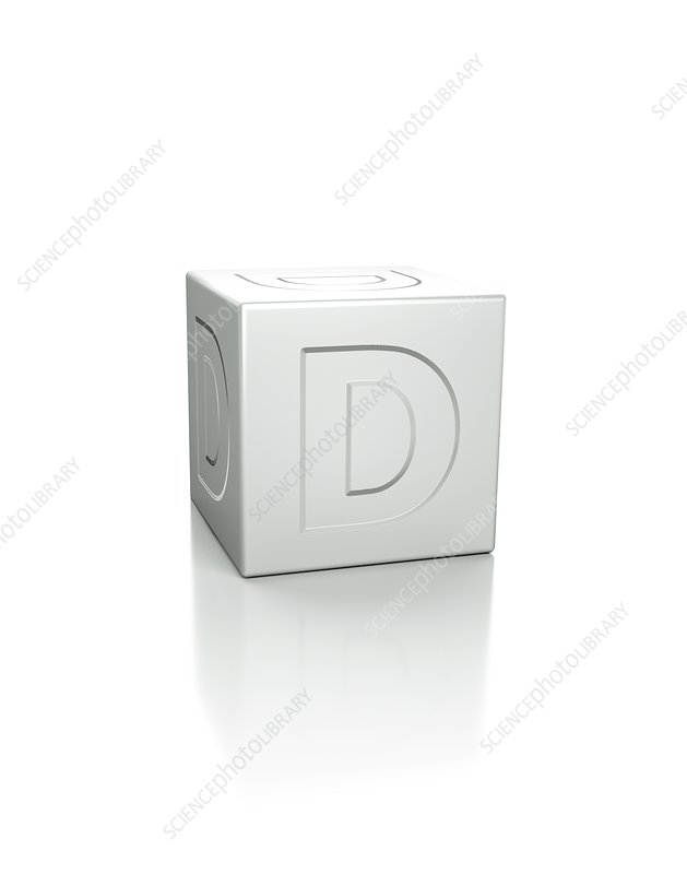 Cube with the letter D embossed