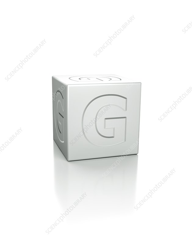 Cube with the letter G embossed