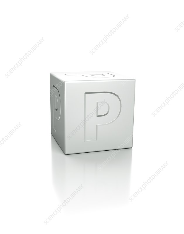 Cube with the letter P embossed