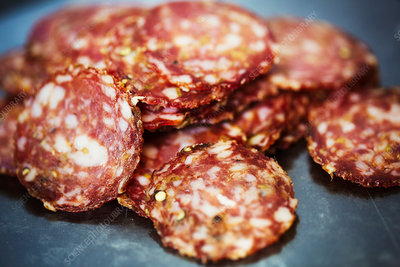 Close up of sliced salami