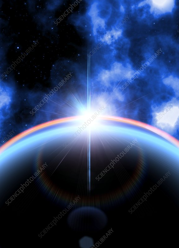 Lens flare on curve of planet