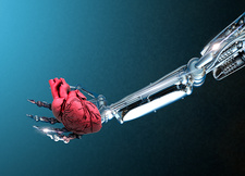 Robotic hand holding heart