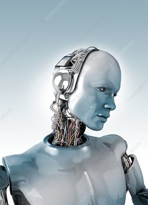 Robot with wires in neck