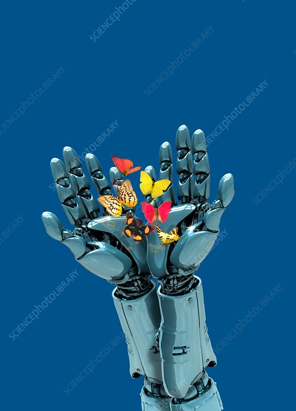 Robotic hands holding butterflies