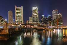 Skyscrapers lit up at night, Boston, USA