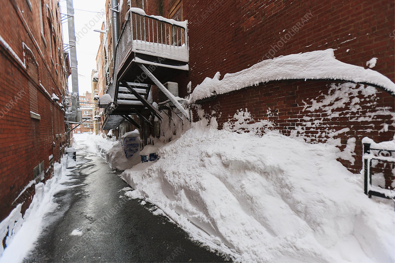 Back alley after blizzard in Boston, USA