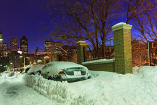 Car buried in snow in Boston, USA