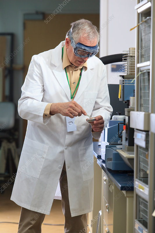 Professor in chemical laboratory