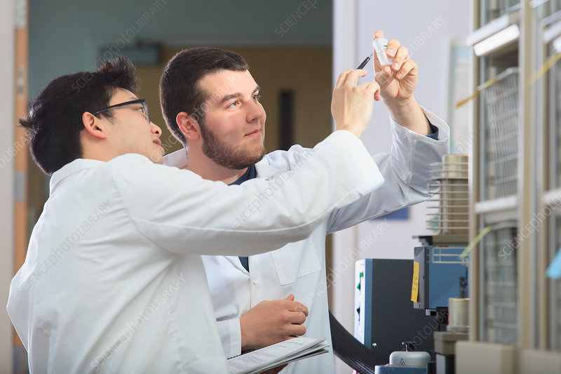 Engineering students in chemistry laboratory