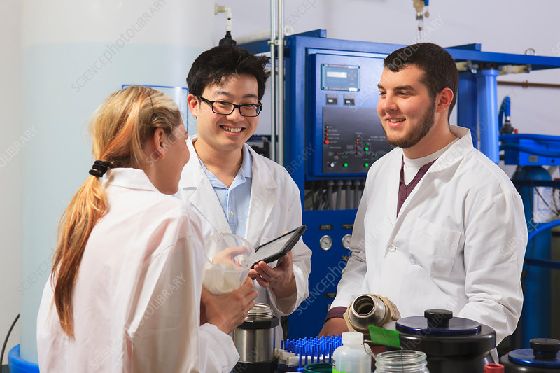 Engineering students in a laboratory