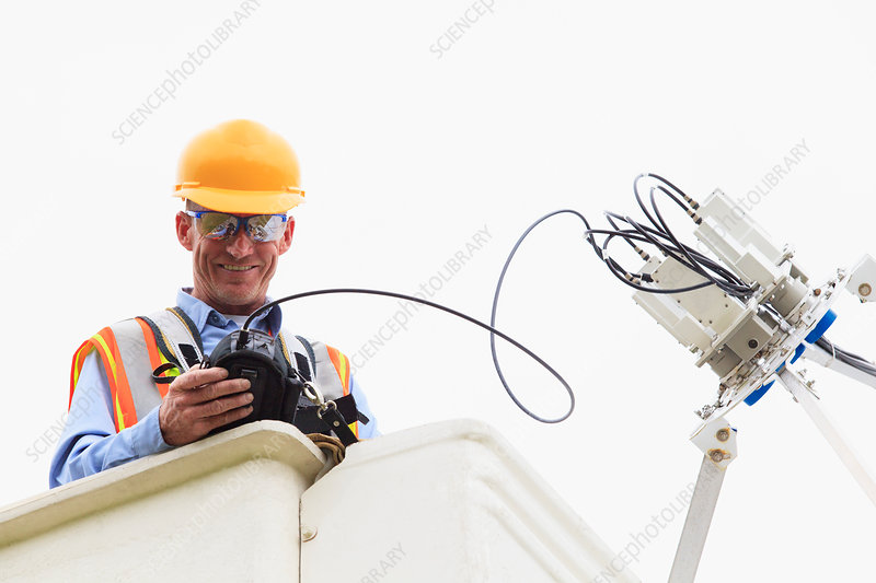 Communications engineer at work