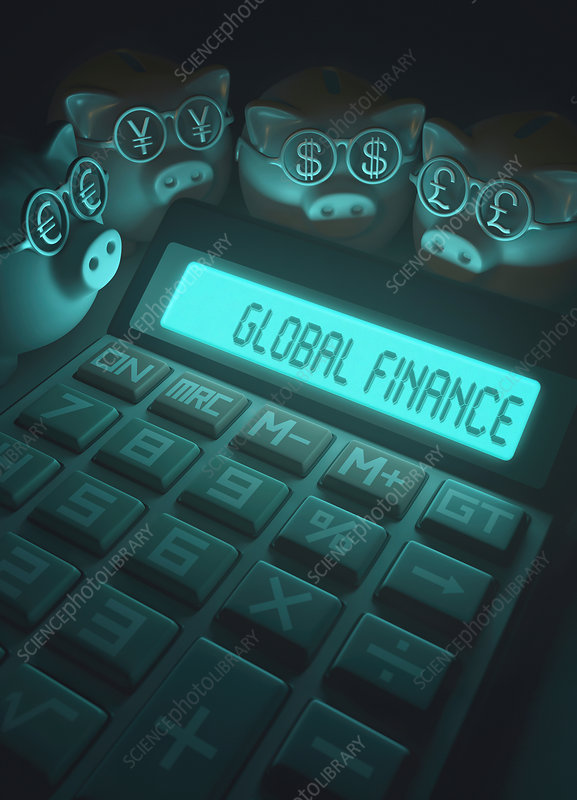 Calculator with global finance and piggy banks