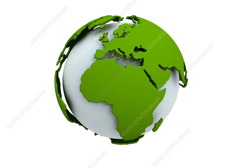 White globe with green continents