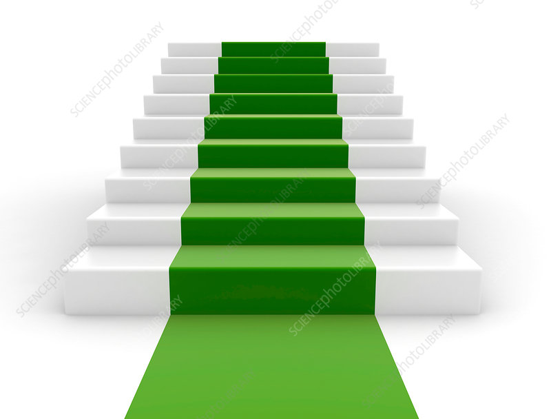 White steps with green carpet