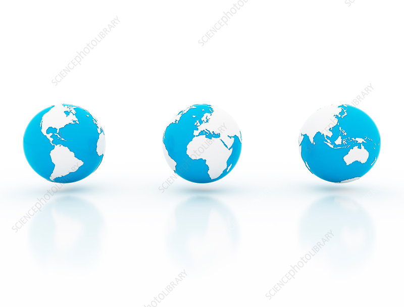 Three blue and white globes