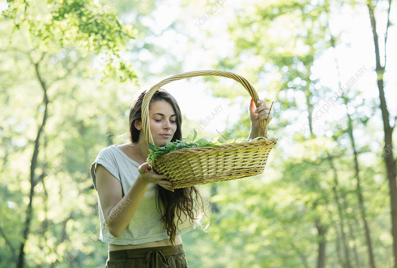Young woman smelling foraged wild herbs in forest