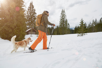 Mid adult man snowshoeing across snowy landscape
