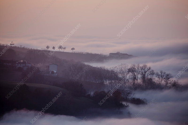 Silhouetted landscape with valley mist, Italy