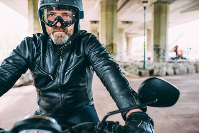 Mature male motorcyclist