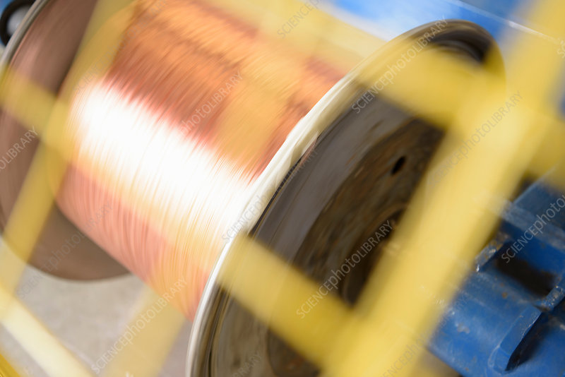 Spinning reel of copper cable in cable factory
