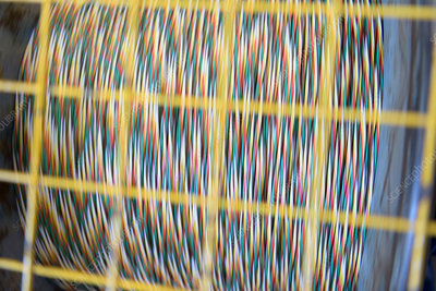 Multicoloured cable on reel in cable factory