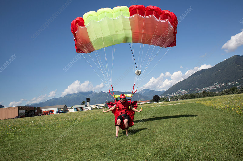 Skydiver landing parachute on field