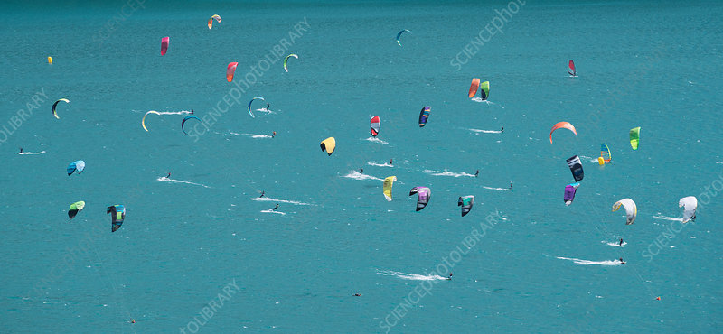 Large group of kitesurfers, Switzerland