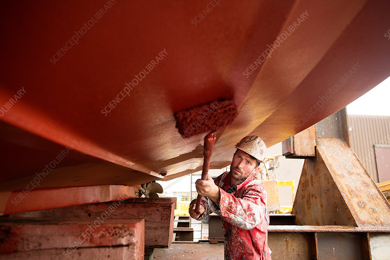 Male ship painter roller painting below ship hull