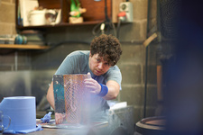 Glassblower creating artwork