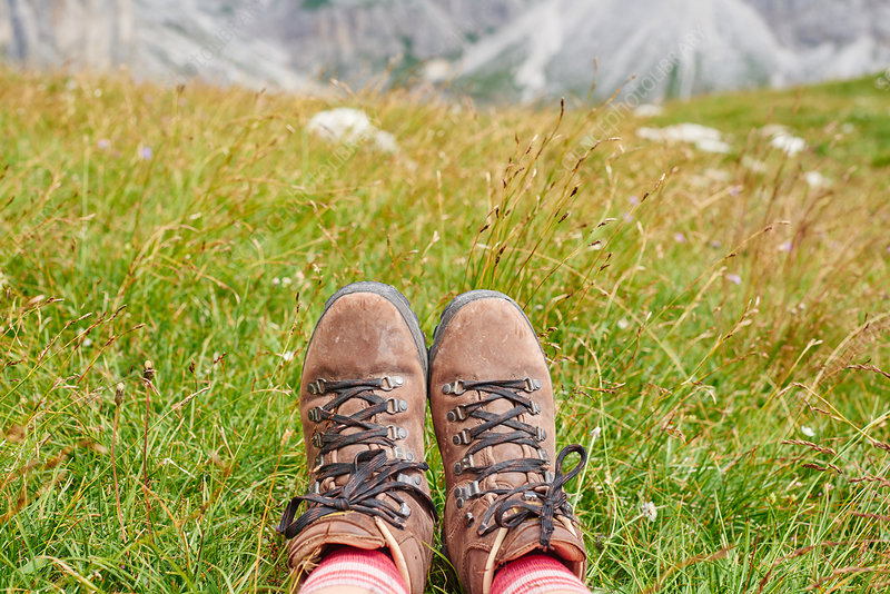 Hikers feet wearing hiking books on grass