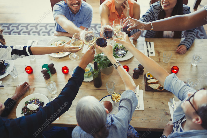 Overhead view friends toasting wine glasses