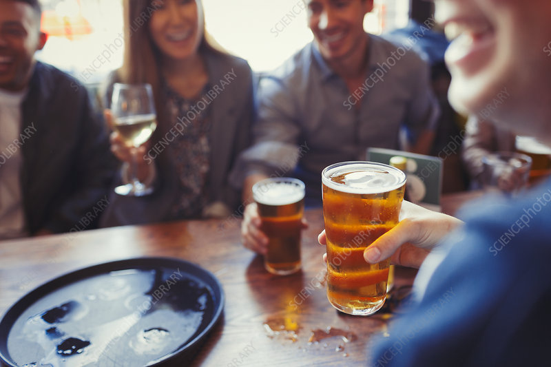 Friends drinking beer and wine in bar