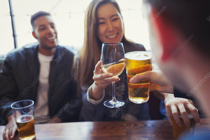 Friends celebrating, toasting beer and wine in bar