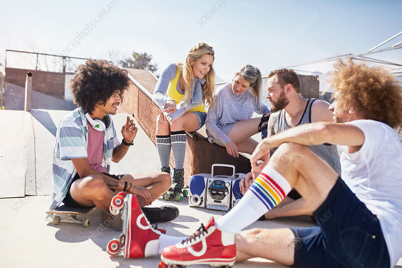 Friends in roller skates hanging out