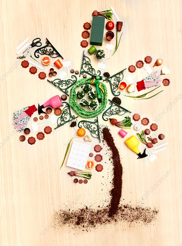 Concept gardening supplies forming windmill tree