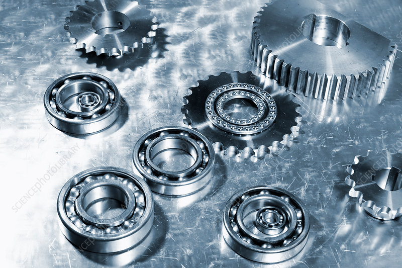 Metal cogs, ball bearings and gears