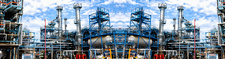 Oil and gas refinery, panoramic view