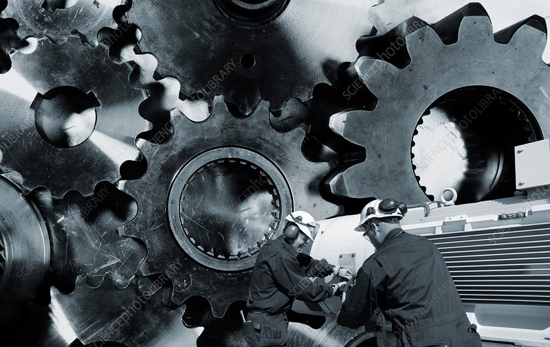 Engineers with cogs and gears